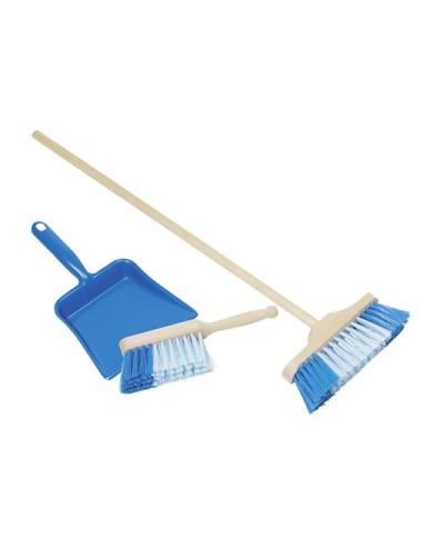 Zmiotka, szufelka i szczotka, zestaw do sprzątania - niebieski