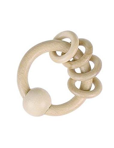 Drewniany pierścień z kółkami – barwa naturalna