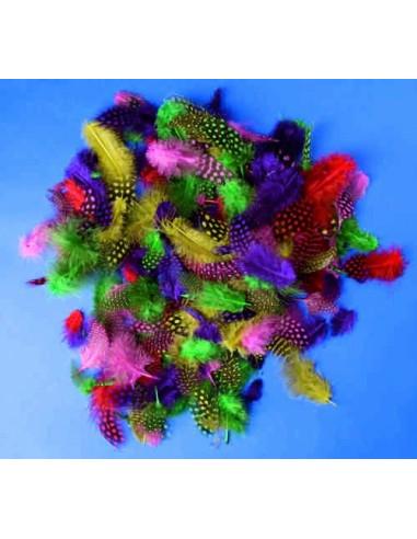 Kolorowe piórka – miękkie, nakrapiane – 100 szt.