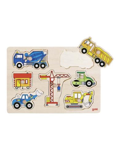 Puzzle z uchwytami – auta na budowie