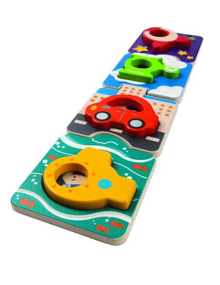 Drewniane puzzle pojazdy