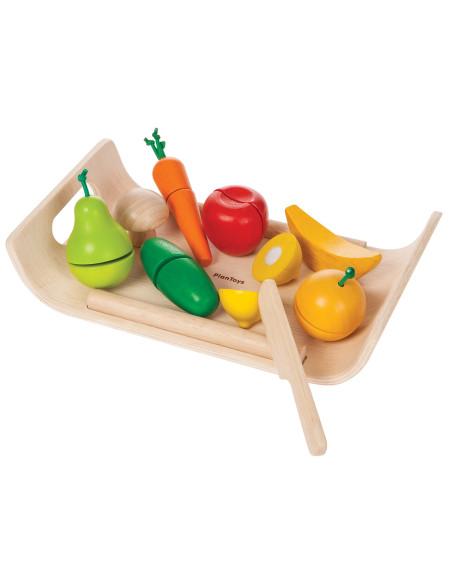 Warzywa i owoce na tacy - drewniany zestaw do zabawy