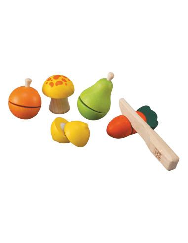 Drewniane warzywa i owoce do krojenia