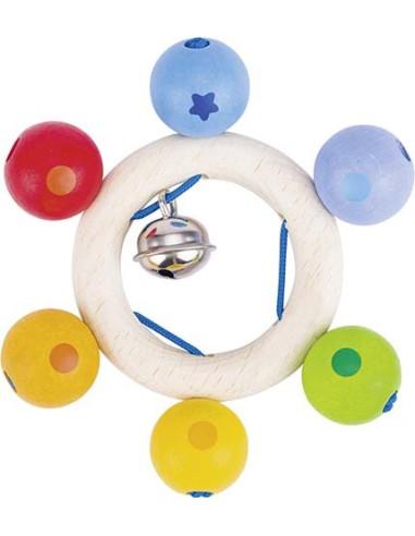 Tęczowe koraliki z dzwoneczkiem – zabawka