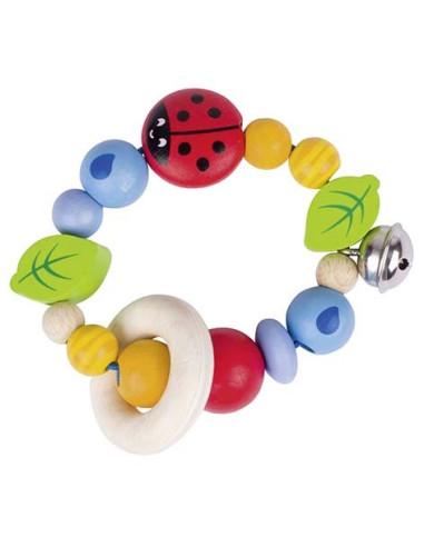 Koraliki z biedronką i dzwonkiem – zabawka