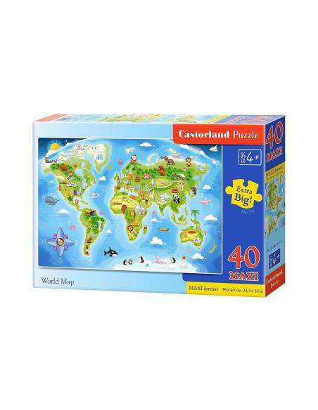PUZZLE - Kontynenty - 40 elementów