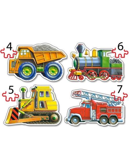 PUZZLE - Zestaw 4w1 - Samochody 4, 5, 6, 7 El.
