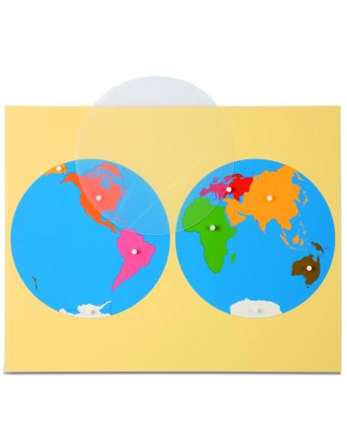 Nienhuis - Mapa świata - dwie półkule