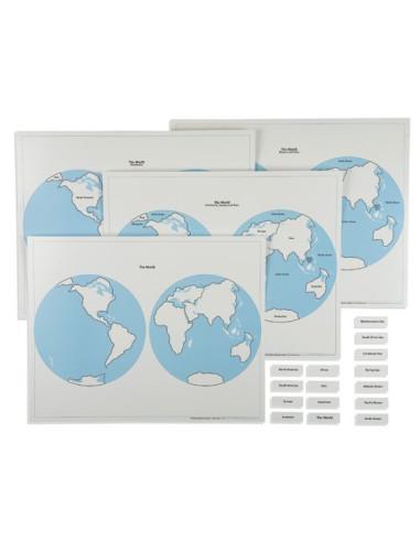 Nienhuis - Zestaw 4 mapą półkul świata