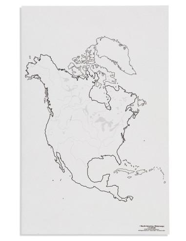 Nienhuis - Mapa Ameryka Północna - cieki wodne