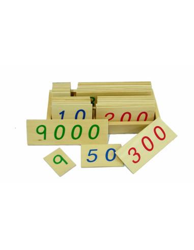Drewniane karty z liczbami, 1-9000, małe