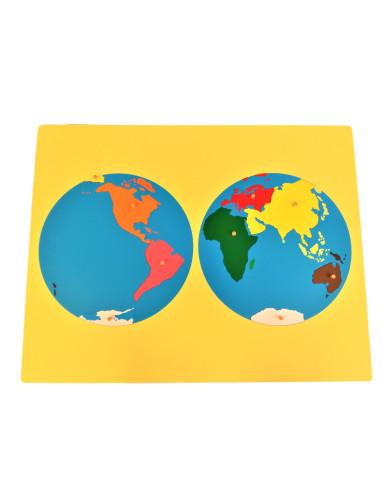 Puzzlowa mapa Świata - dwie półkule