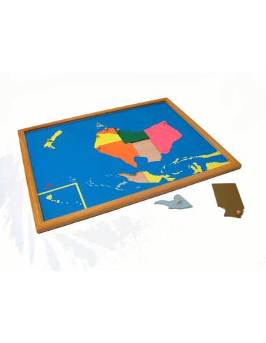 Puzzlowa mapa Australii - bukowa rama