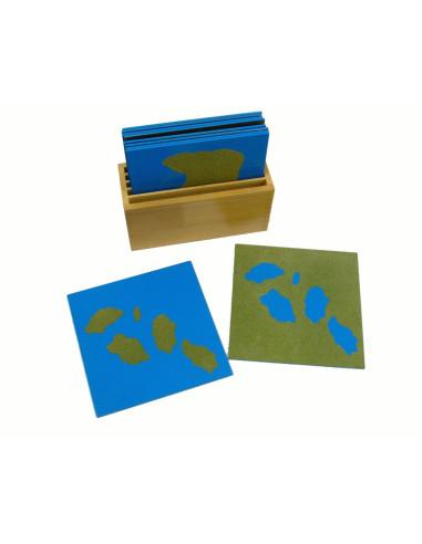 Karty z kształtami lądów i wód