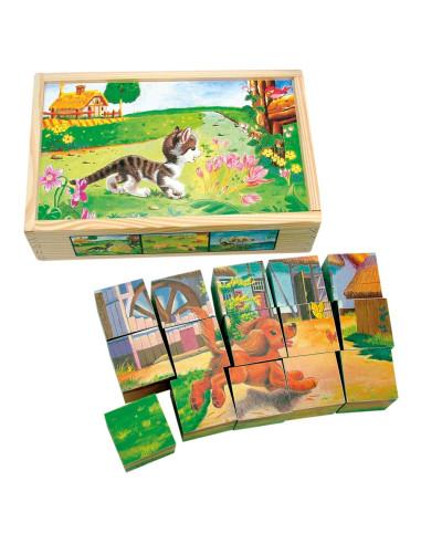 Sześciany z obrazkami – zwierzęta domowe – 15 elementów