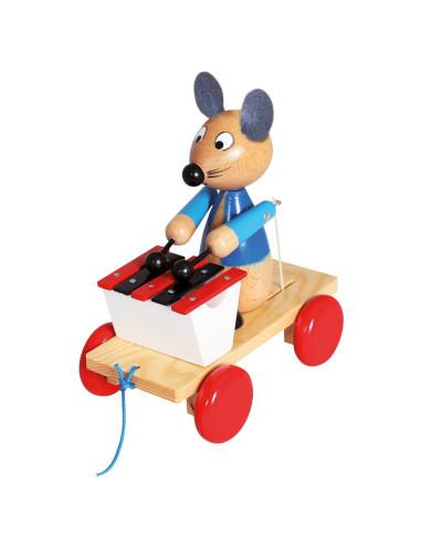 Mysz z cymbałkami – zabawka do ciągnięcia