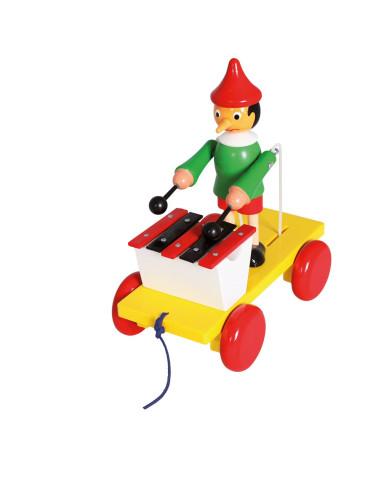 Pinokio z cymbałkami – zabawka do ciągnięcia