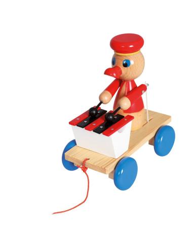 Kaczorek z cymbałkami – zabawka do ciągnięcia