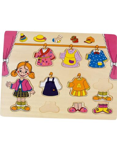 Ubieranie – puzzle na podkładce - dziewczynka