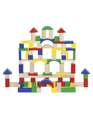 Drewniane klocki konstrukcyjne, 100 elementów